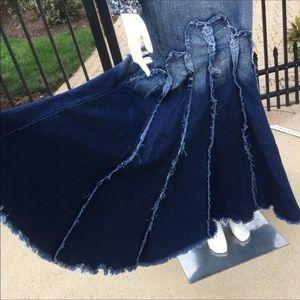 Blue denim ombre mermaid fishtail long maxi skirt